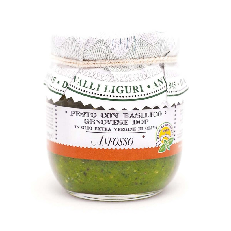 Pesto with genovese basil PDO in Extra Virgin Olive Oil - Anfosso - 180gr