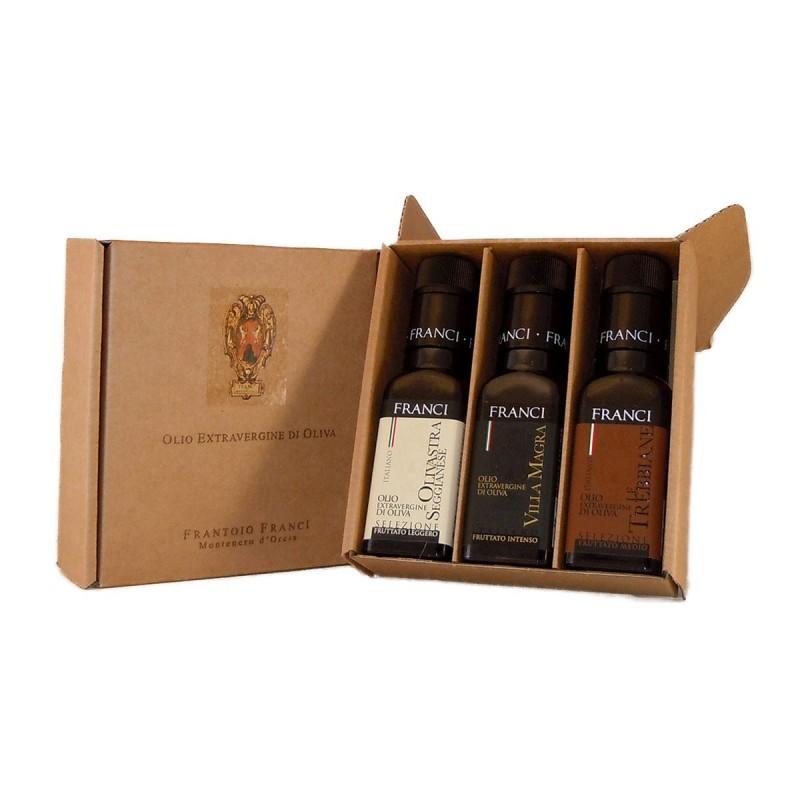 Gift Box Tris Extra Virgin Olive Oil - Franci - 3x100ml