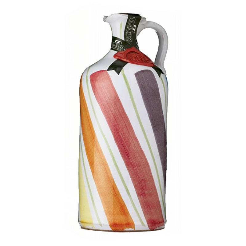 Extra Virgin Olive Oil Rainbow Ceramic Jar - Galantino - 500ml