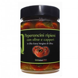Stuffed Chili peppers with Olives Anchovies and Capers in extra virgin olive oil - Quattrociocchi - 320gr
