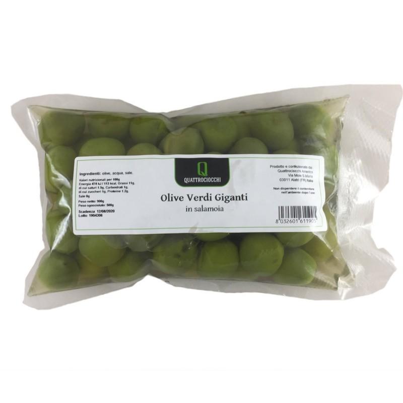 Giant Green Olives in brine - Quattrociocchi - 500gr