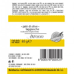 Black Taggiasche Olives Paste in Extra Virgin Olive Oil - Anfosso - 85gr