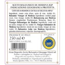 Balsamic Vinegar of Modena PGI 2 Gold Medals - Giusti - 250ml