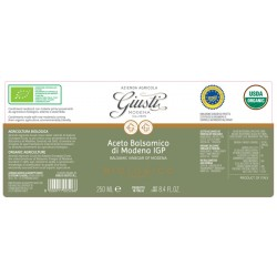 Organic Balsamic Vinegar of Modena PGI 2 seals - Giusti - 250ml