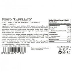 """Red Pesto with sun dried tomatoes """"Capuliatu"""" - Cutrera - 190gr"""