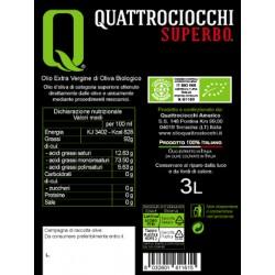 Extra Virgin Olive Oil Superbo Moraiolo Organic can - Quattrociocchi - 3l