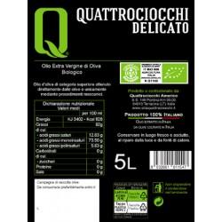 Extra Virgin Olive Oil Delicato Leccino Organic can - Quattrociocchi - 5l