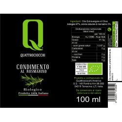 Extra Virgin Olive Oil Rosemary Aromatized Organic - Quattrociocchi - 100ml