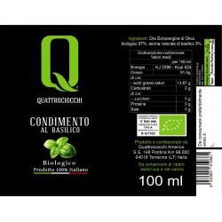 Extra Virgin Olive Oil Basil Aromatized Organic - Quattrociocchi - 100ml