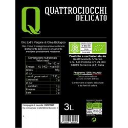 Extra Virgin Olive Oil Delicato Leccino Organic can - Quattrociocchi - 3l